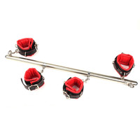 BDSM Toys Stainless Steel Adjustable Spreader Bar Bondage Set Unisex Sex Handcuffs Ankle Cuffs Fetish Restraints Shackles Y201118