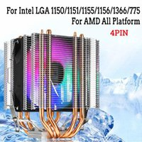 Wholesale copper cpu resale online - 4pin CPU Cooler Copper Heatpipe Heat Sink Dual Tower Quiet Cooling Fan For Intel LAG For AMD Socket AM3 AM2