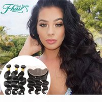 Wholesale way closure bundles for sale - Group buy 3 Way Part Body Wave Ear to Ear Full Lace Frontal Closure Piece With A Malaysian Human Hair Bundles