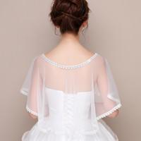 Wholesale cloak shawls dress resale online - 2020Summer cloak Coat dress bridal sun dress wedding gauze shawl arm cloak lace coat wedding protection umbrella women s NLaZe