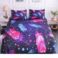 Wholesale boho bedding resale online - ZEIMON Feathers Bedding Set Home Textiles Duvet Cover Sets With Pillowcase King Size Bedroom Colorful Boho