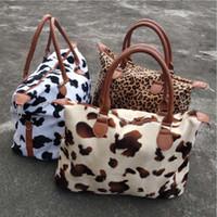 Wholesale weekend bags women resale online - Leopard Cow Print Handbag Large Capacity Weekend Travel Bags Women Sports Yoga Totes Storage Maternity Bag DDA827