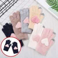 Discount tablet weaving Mittens Women's Winter Gloves For Men Fashion Keep Warm Cashmere Lovely Love Weave Knitted Gloves For Bike Tablet Pad1