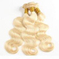 Wholesale piece weave bleach dye resale online - Big Stock Bleached Blonde Hair Weaves Brazilian Body Wave Human Hair Wefts Remy Hair Bundles gram Per Piece