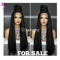 Wholesale natural hairstyles braids for sale - Group buy Long Braided Lace Front Wigs for black women Natural Synthetic Braiding Hair Wig with baby hair African American Hairstyle