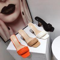 Wholesale sandal shose resale online - Female Shoes Slippers Heels Beige Heeled Sandals Luxury Slides Big Size Shose Women Flock Low High Black Soft Designer X1020