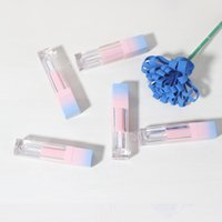 Wholesale lipstick samples resale online - 200pcs Square Empty Lip Gloss Tube Gradient Blue Plastic Elegant Lipstick Liquid Cosmetic Containers ml Sample SEA SHIPPING OWE3028