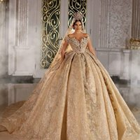 Wholesale lace wedding dresse for sale - Group buy 2021 Sparkly Ball Gown Wedding Dresse Champagne Off Shoulder Luxury Crystal Beaded Saudi Arabian Dubai Bridal Gown Plus Size