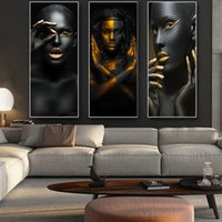 Wholesale nude women canvas art painting for sale - Group buy Black and Gold African Nude Woman Cuadros Canvas Painting Posters and Prints Scandinavian Wall Art Picture for Living Room Decor Q1123