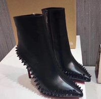 Wholesale louboutin heels resale online - Christian luxury outsole Louboutin CL new round order boots black classic luxury cm10cm12cm m0008 wedding shoes high heels