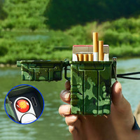 DHL Shipping Creative Cigarette case 20 outdoor portable sealed waterproof cigarette lighters in rechargeable cigarette boxes