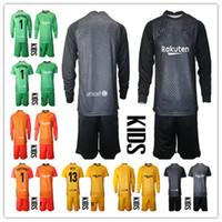 Kids Youth 2020-2021 Long Ter Stegen Goalkeeper Jersey Kit Soccer Sets #1 Marc-Andre Ter Stegen Kid Boys Goalkeeper Uniform Any Name Number