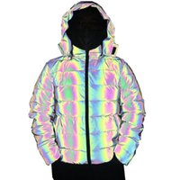 Wholesale reflecting jacket resale online - New Arrival Colorful Rainbow Reflective Winter Jacket Women Windbreaker Reflecting Glow Hooded Parka Young Men Warm Padded Coat