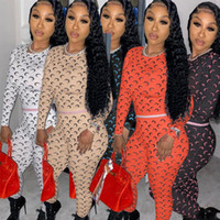 Women Sporty Fitness Tracksuit Moon Letter Print Long Sleeve Bandage Tops and Skinny Long Legging Pant Matching Sets Club Outfit