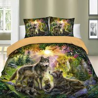 Wholesale wolf duvet covers for sale - Group buy 3D Bed Linens Wolf Duvet Cover Set Animal Printed Single Twin Full Queen King Euro Bed Quilt Cover Bedding Sets With Pillowcases Q1127