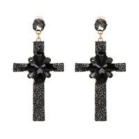 Wholesale diamond inlaid cross for sale - Group buy Off Jujia s New Cross Earrings top grade diamond inlaid jewelry