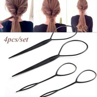 Discount topsy tool hair styles 4pcs Black Topsy Tail Hair Braid Ponytail Maker Hair Styling Tools Ponytail Creator Plastic Loop Hair Accessories