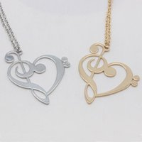 Wholesale teachers gifts for sale - Group buy New Arrival Copper Treble Bass Clef Charm Necklace Music Teacher Gift Drop Shipping Accepted YP6042
