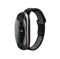 Discount phone standby time Newest T90 Smart Watch TWS Bluetooth Earphone Heart Rate Monitor Smart Wristband Long Time Standby Sport Watch with Earbuds