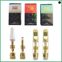 KRT Carts Cartridges new Packaging 0.8 1.0ml Glass Tank Ceramic Coil Empty Vape Pen Cartridges Gold Tip 510 Thick Oil Krt Atomizer