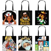 Wholesale nursing bags resale online - Afro Girls nurse pattern folding shopping bag convenient storage bag tote bag African black girl Handbag Totes Storage Gift Bags F111002
