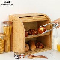 Wholesale bread boxes for sale - Group buy Storage Box Bamboo Bread Box Bins With Cutting Board Double Layers Food Containers Big Drawer Kitchen Organizer Home Accessories Z1123