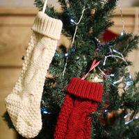 Wholesale personalized christmas stockings for sale - Group buy New Personalized knit Christmas Stocking items Blank pet stocks Christmas Holiday Stocks Family Stockings indoor decoration DWE3146