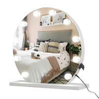 WACO Round Hollywood Mirror with Lights, Lighted Vanity for Makeup Table, Large Cosmetic, 12 LED Bulbs and Base