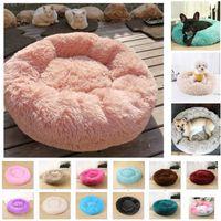 Wholesale dog beds resale online - Dog Long Plush Dounts Beds Calming Bed Pet Kennel Super Soft Fluffy Comfortable For Large Dog Cat House HH9