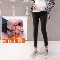 Wholesale jeans for maternity resale online - Maternity winter flannel new style casual jeans black legged Pants for pregnant women