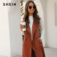 sleeveless trench 2021 - SHEIN Solid Double-breasted Waterfall Collar Trench Vest Women Outwear Spring Autumn Sleeveless High Street Midi Casual Coats1