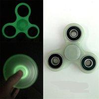Wholesale figit spinners resale online - Cheap Hzfz Funny Fidget Hand Finger Figit Stress Spinner Glow in the Dark Tri spinner Autism Antistress Adult Kids Toy EZ