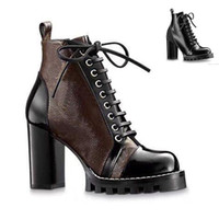 High heeled Martin boots Autumn winter Coarse heel women shoes Desert Boot 100% real leather zipper letter Lace up Fashion lady Heels Large size 35-41-42 US11-42 With box