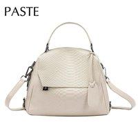 Wholesale korean handbags for women resale online - PASTE All match Korean Style Handbag Women Serpentine Crocodile Pattern Cowhide Female Shoulder tote Bag for Bride Wedding Purse Q1118