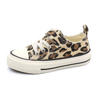 Discount new children shoes Children flat base Canvas Shoes For Spring New Fashion Autumn Student Casual leopard print
