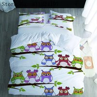 owl bedding set full 2021 - Cartoon Owls and Branches Printed 2 3Pcs Cotton Duvet Cover & Pillow Case Set Single Twin Full Queen King 8 Size Bedding Sets