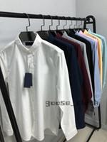 New 2021 Mens Designer Shirts Fashion Casual Shirt Men Slim Fit Shirts Stripe Womens small horse Man Solid Color 2020 Business Dress Shirt