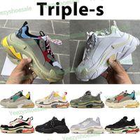 Triple-s platform men women shoes vintage paris beige green yellow triple black white red grey gym blue mens casual sneaker
