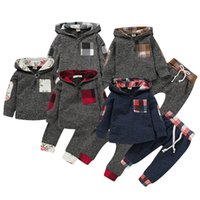 Discount baby clothing gift sets Boys Girls Christmas Clothing Sets Tracksuit Black Red Gridding Hoodie Pants Toddler Suits Kid Baby Sweatshirt Clothes Outfits Gift