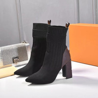 Wholesale boots resale online - 2020 New Fashion Luxury Lady Sock Booties Fashionable Comfortable Leather Woman Boots Presbyopia Martin Boots Heel height cm size