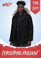 Fashion Men Winter Jacket Wolf Fu travel Parka Down Jacket Long Parka Puffer Coats Warm Overcoat Jaqueta coats outwear