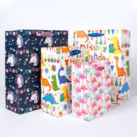 Wholesale kids clothing stores resale online - 5pcs Dinosaur Paper Gift Bags Animals Handbags Treat Birthday Party Decorations Kids Baby clothes Packing Bag for store