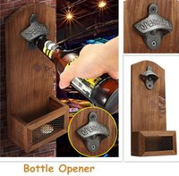 Wholesale wall mount beer bottle openers resale online - Hot Sales Chic Vintage Antique Iron Wall Mounted Bar Beer Glass Bottle Cap Opener Kitchen Tools Bottle Opener Opener Without Srew EWF3306