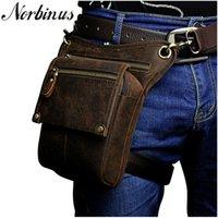 Wholesale men leather waist hip bag for sale - Group buy Norbinus Men Genuine Leather Waist Fanny Pack Messenger Shoulder Bags Male Travel Hip Bum Belt Motorcycle Drop Leg Bag