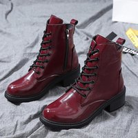 Wholesale wine red platform shoes resale online - ankle boots for women wine red platform high heels fashion High top Lace up Martin boots Ladies casual shoes quality