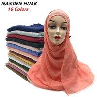 Wholesale new fashion hijab turban scarf for sale - Group buy Solid Wrinkled Hijab Soft Head Scarf Women Turban Foulard Shawls Muslim Scarves Fashion Femme New Bandana