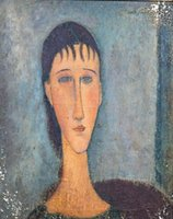 Wholesale oil woman art painting resale online - Large Early th Century Portrait Of A Woman Amedeo Modigliani Home Decor Oil Painting On Canvas Wall Art Pictures