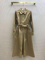 Milan Runway Dress 2021 Lapel Neck Long Sleeve Panelled Designer Dress Brand Same Style Dress 1230-16