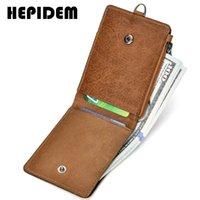 Wholesale front pocket wallets for sale - Group buy Hepidem Rfid High Quality Crazy Horse Genuine Leather Slim Wallet New Front Pocket Money Dollar Bill Purse for Men K055