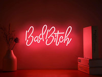 Bad Bitch Real Glass Handmade Neon Wall Signs for Home Light Room Home Bedroom Girls Hotel Beach 15x8 Inches Free Shipping
